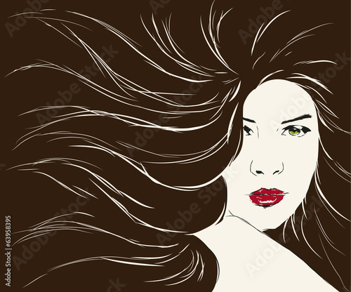 beauty woman face with long hair
