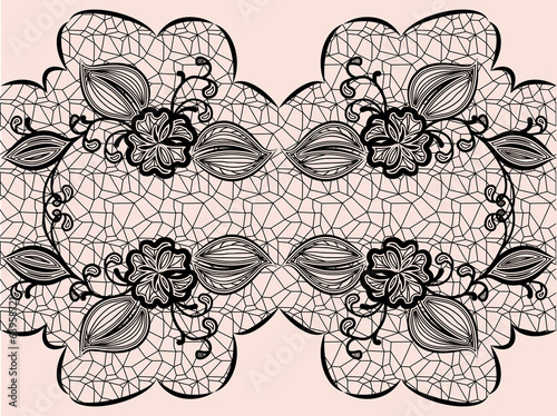 Seamless black lace ribbon with floral elements for design