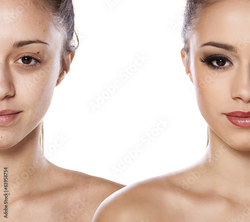 side by side portrait of a girl without and with makeup