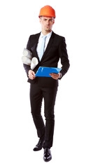 handsome businessman in helmet with blue folder