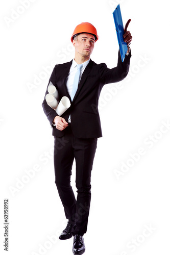 Businessman directing works over white background