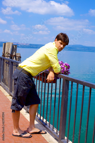Young man relaxing in Italy in vacation
