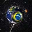 "Brazil with magnifying glass ""this image furnished by NASA"""