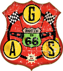 vintage route 66 gas station sign, retro style, vector illustrat