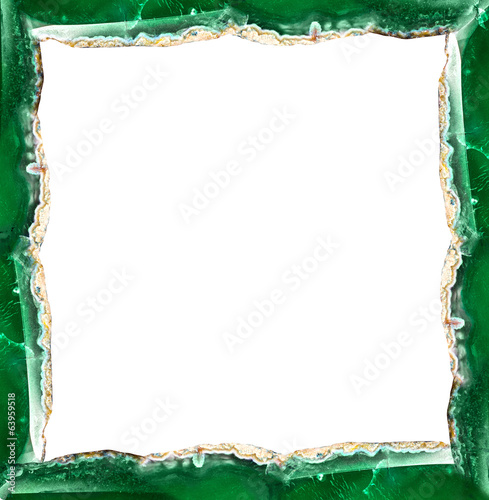green agate frame isolated on white