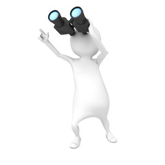 white 3d man with binocular pointing forward