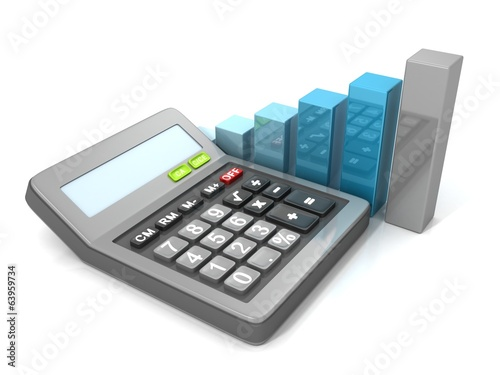 Calculator and bar graph diagram. Business concept