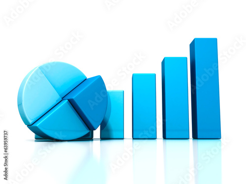 Blue bar and pie graph on reflection. business success