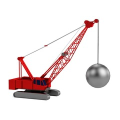 realistic 3d render of destruction crane