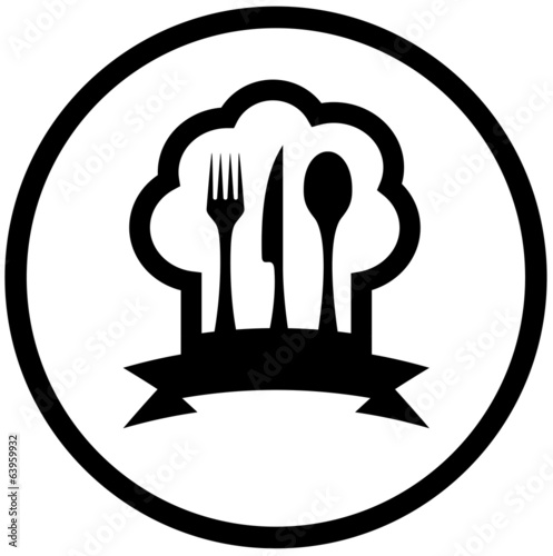 food icon with chef hat and kitchen utensil