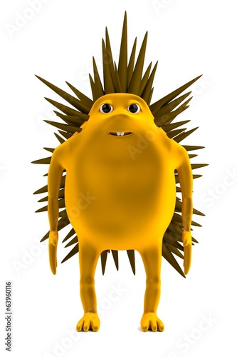 cartoon 3d render of hedgehog