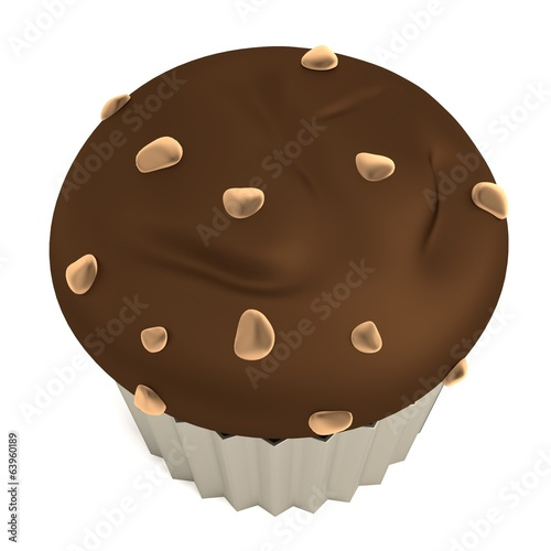 realistic 3d render of muffin