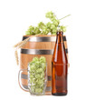 Barrel and bottle of beer with hop.