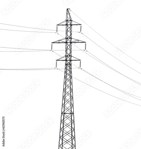 simple electrical steel pylon isolated on white