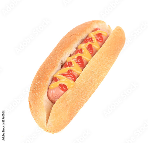 Tasty hot dog with mustard and ketchup.