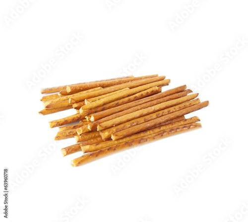 Salted sticks isolated on white background