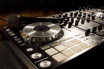 Dj mixer at a nightclub.