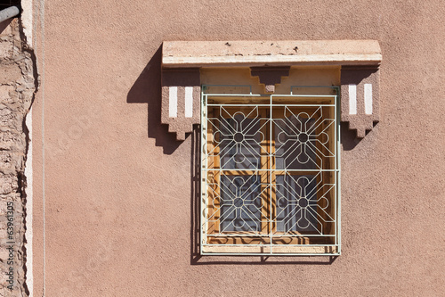 Decorative window in old Marrakesh building Morocco