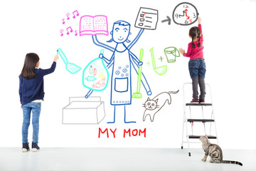 two kids drawing her mother working tasks
