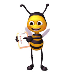 bee with check note