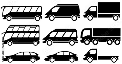 set isolated transport icons