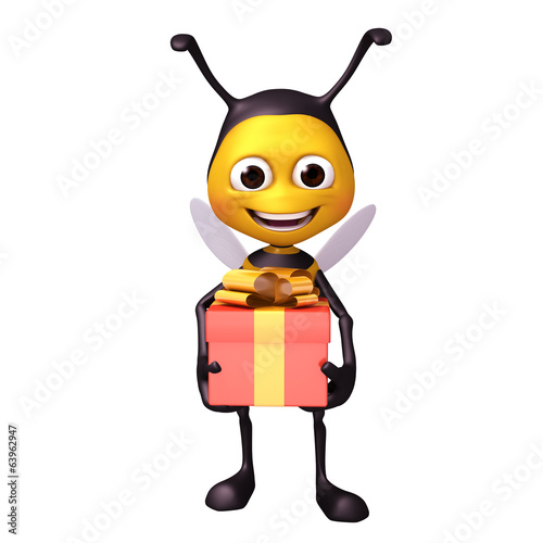 bee with gift box
