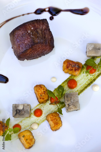 Roast beef, gnocchi and pressed oyster