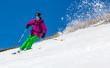 Man skier on a sky background - 63963367
