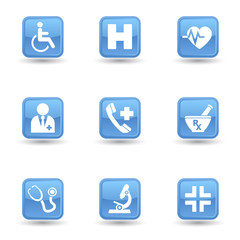 Medical Glossy Icons Set