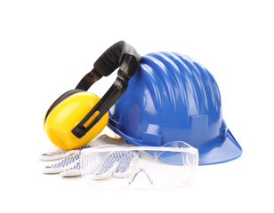 Blue safety helmet with earphones and goggles.