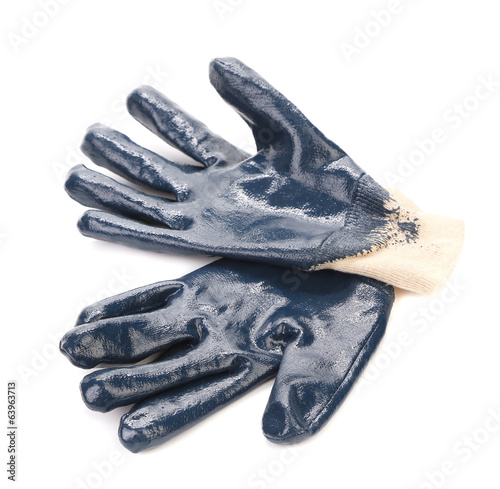 Blue rubber work gloves.