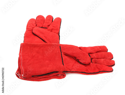 Pair of red textile working gloves.