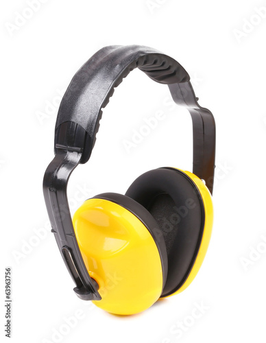 Yellow protection headphones.