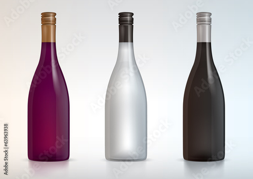 vector blank wine bottles for new design