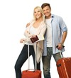 Happy couple with suitcases and map