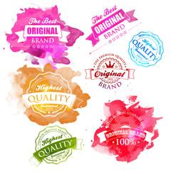 Vector Collection of Premium Quality Labels watercolor splash.