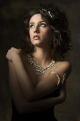 sensual curly brunette woman