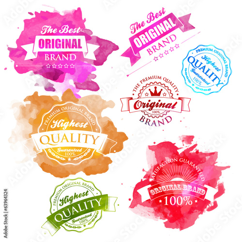 Vector Collection of Premium Quality Labels watercolor splash.