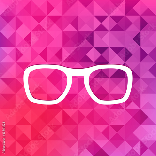 Glasses icon.Triangle background.