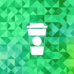 Takeaway coffee cup icon.Triangle background.