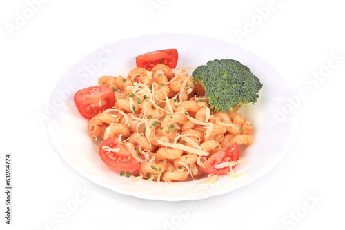 Pasta with vegetables and parmesan.