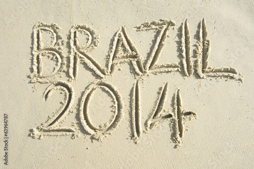 Brazil 2014 Message Handwritten on Sand Beach