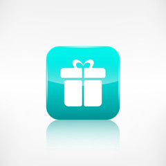 Gift box icon. Application button.