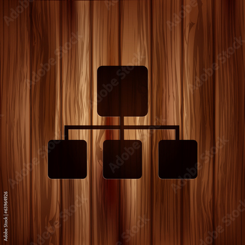 Network icon. Wooden texture.
