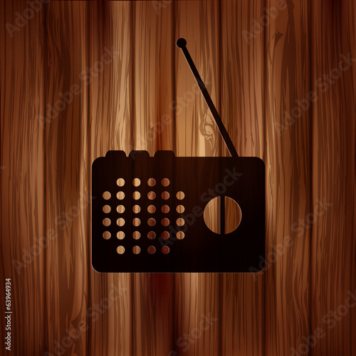 Radio web icon. Wooden texture.