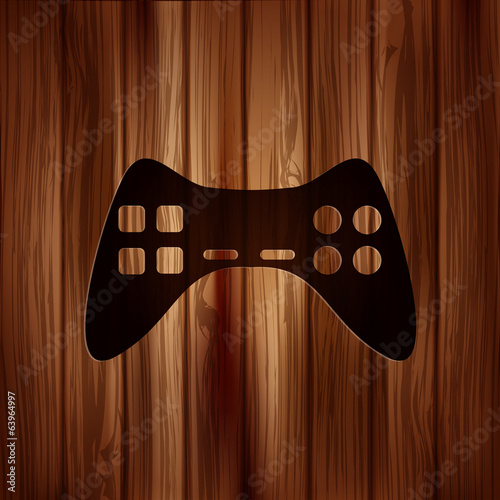 Joystick web icon. Wooden texture.