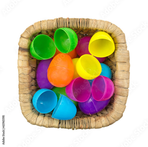 Plastic Easter Eggs In Wicker Basket Top View