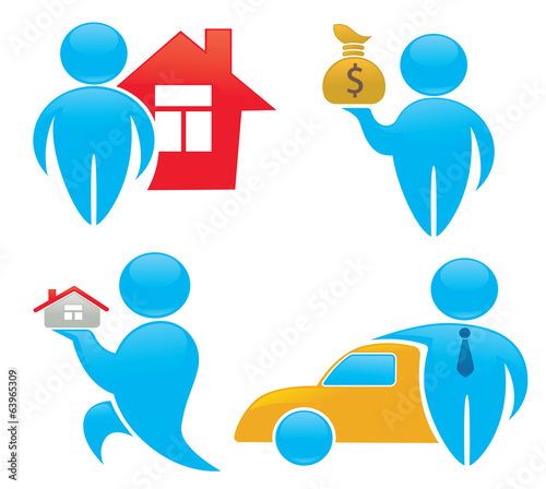 wealth, property and owners, vector collection