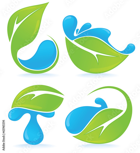 fresh green leaves and water drops signs and symbols