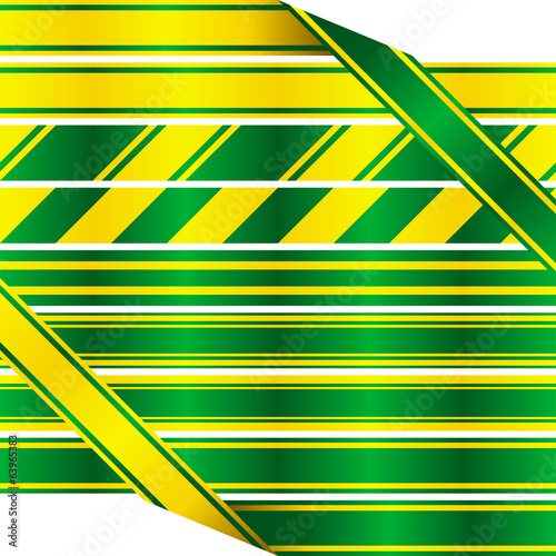 Green and yellow ribbons. Set of seamless satin ribbons.